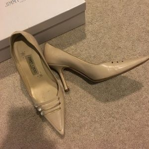 Jimmy Choo Nude Leather Leather Pointy Toe Heels